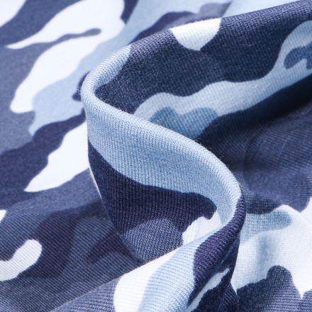 Tissu Jersey coton US Camouflages sur fond Bleu clair