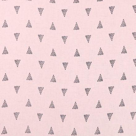 Tissu Lin Viscose léger Triangles Noirs sur fond Rose blush chiné - Par 10 cm