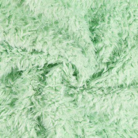 Tissu Fausse fourrure longs poils Vert opaline - Par 10 cm