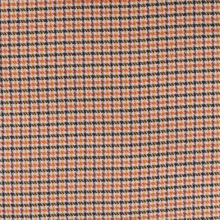 Tissu Jacquard Petits carreaux orange noir et jaune sur fond Beige - Par 10 cm