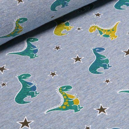 Tissu Sweat envers minky  Dinosaures sur fond Bleu chiné - Par 10 cm