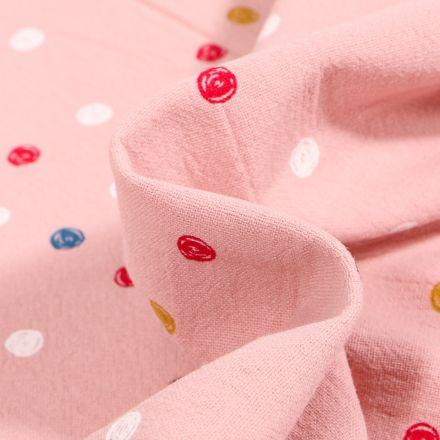 Tissu Coton lavé Pois colorés sur fond Rose