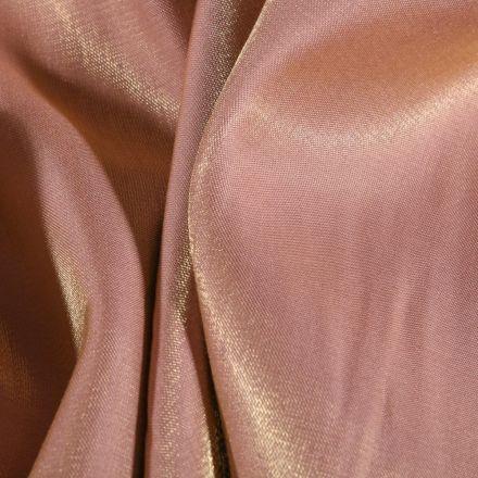 Tissu Taffetas d'habillement Reflets Or sur fond Rose - Par 10 cm