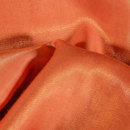 Tissu Taffetas d'habillement Reflets Or sur fond Orange - Par 10 cm