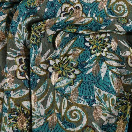 Tissu Mousseline Crépon  Fleurs et arabesques sur fond Vert kaki - Par 10 cm