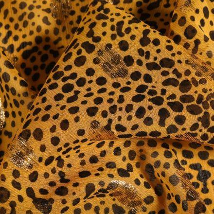 Tissu Mousseline Crépon Tâches noires et pois lurex bronze sur fond Jaune - Par 10 cm