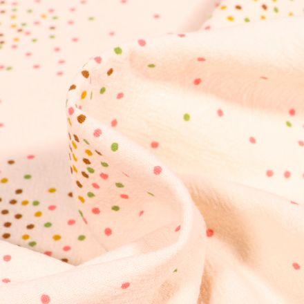 Tissu Coton lavé Mini confettis sur fond Blanc cassé