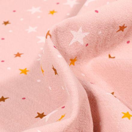 Tissu Coton lavé Etoiles et pois sur fond Rose