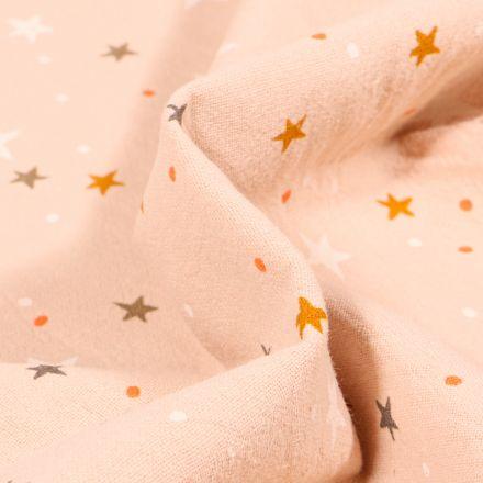 Tissu Coton lavé Etoiles et pois sur fond Beige