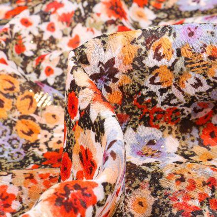 Tissu Voile Polyester Milles et une fleurs sur fond Vert kaki
