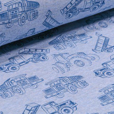 Tissu Sweat envers minky Engins de chantier sur fond Bleu chiné
