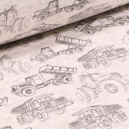 Tissu Sweat envers minky Engins de chantier sur fond Beige chiné