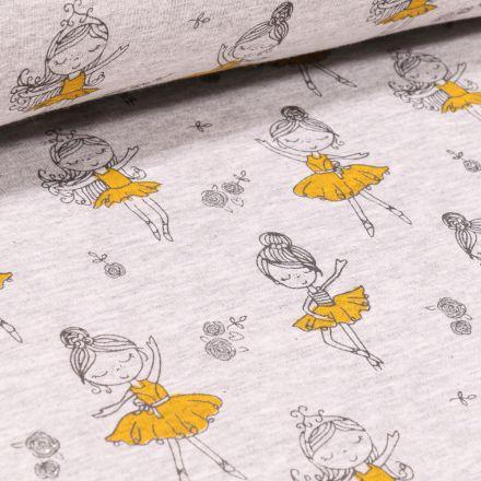 Tissu Sweat envers minky Ballerines en tutu jaune sur fond Gris chiné