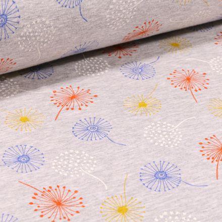 Tissu Sweat envers minky Pissenlits multicolores sur fond Gris chiné