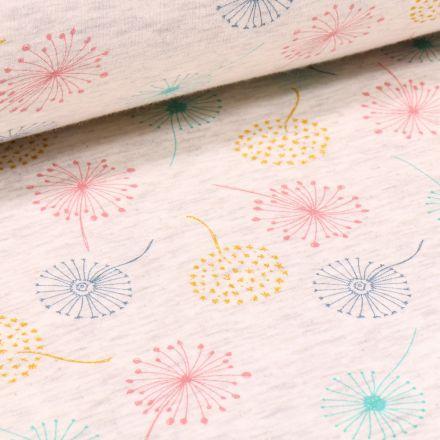 Tissu Sweat envers minky Pissenlits multicolores sur fond Beige chiné