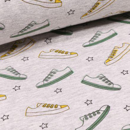 Tissu Sweat envers minky Basket et étoiles sur fond Gris chiné