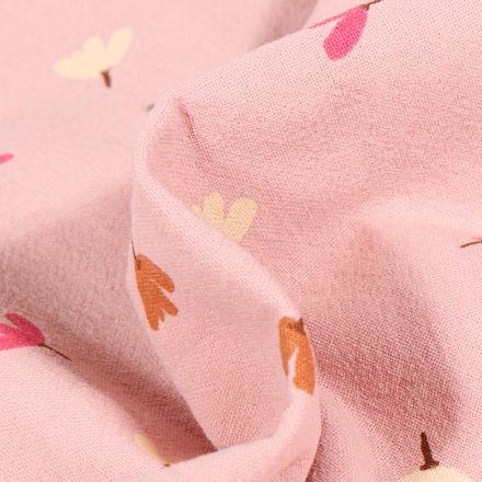 Tissu Coton lavé Petites fleurs colorés sur fond Rose