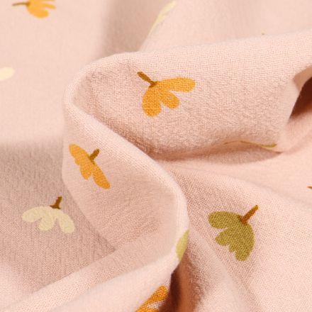 Tissu Coton lavé Petites fleurs colorés sur fond Beige