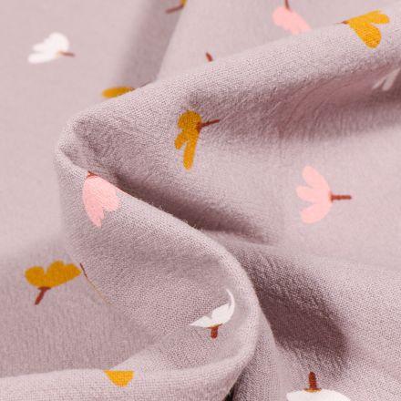 Tissu Coton lavé Petites fleurs colorés sur fond Gris