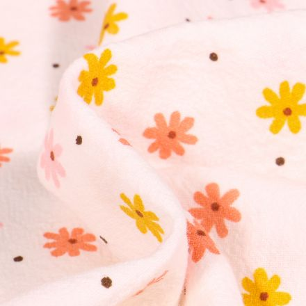 Tissu Coton lavé Pâquerettes colorés sur fond Blanc cassé
