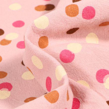 Tissu Coton lavé Confettis colorés sur fond Rose