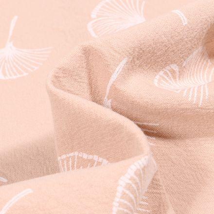 Tissu Coton lavé Feuilles de ginkgo sur fond Beige clair