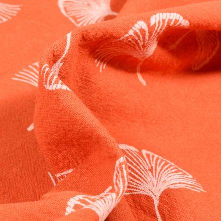 Tissu Coton lavé Feuilles de ginkgo sur fond Orange