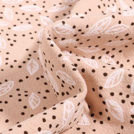 Tissu Coton lavé Feuilles et pois sur fond Beige