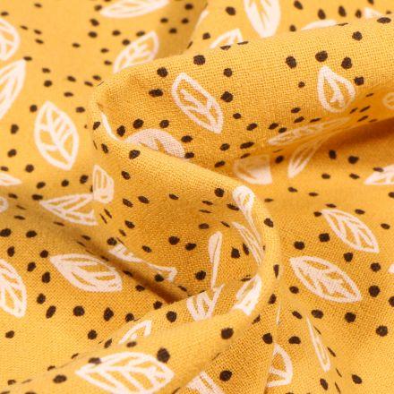 Tissu Coton lavé Feuilles et pois sur fond Jaune