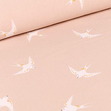 Tissu Coton lavé Hirondelles blanches sur fond Beige