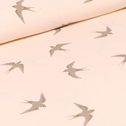 Tissu Coton lavé Hirondelles sur fond Beige
