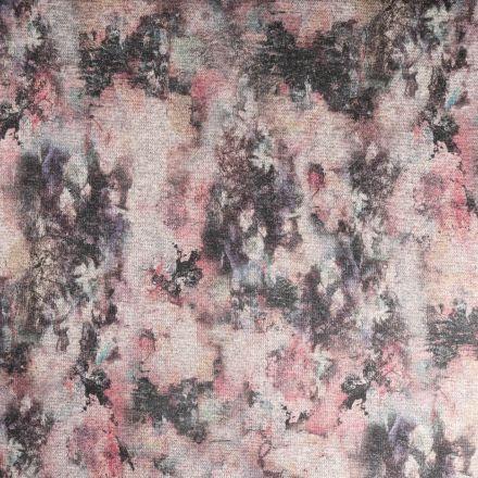 Tissu Maille Lurex Abstrait sur fond Rose - Par 10 cm