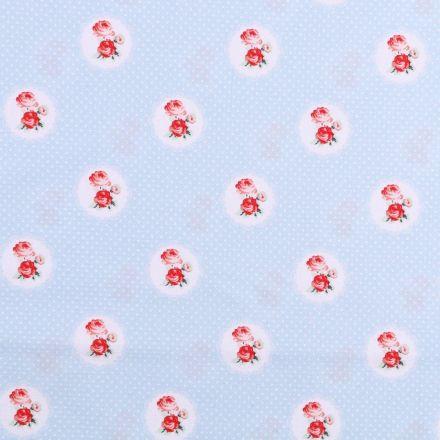 Tissu coton imprimé Petits pois blancs et roses rouges sur fond Bleu ciel - Par 10 cm