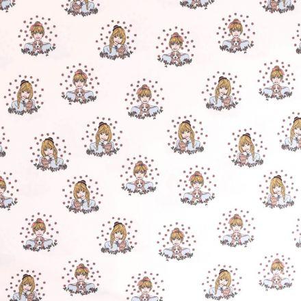 Tissu Jersey Coton Girl & Dog Blanc - Par 10 cm