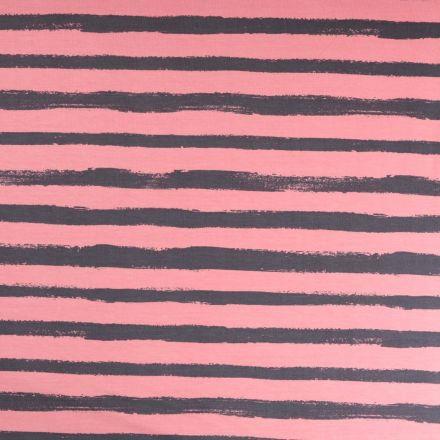 Tissu Jersey Coton imprimé épais Rayures grises sur fond Vieux rose - Par 10 cm