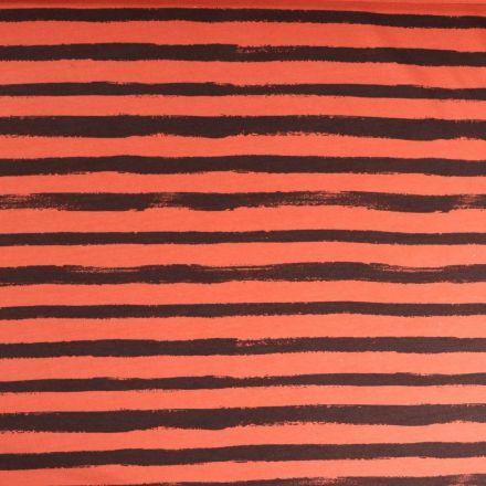 Tissu Jersey Coton imprimé épais Rayures grise anthracite sur fond Orange - Par 10 cm