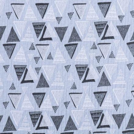 Tissu Double gaze de coton Triangles abstrait noirs et blancs sur fond Bleu ciel - Par 10 cm