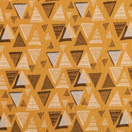 Tissu Double gaze de coton Triangles abstrait noirs et blancs sur fond Moutarde - Par 10 cm
