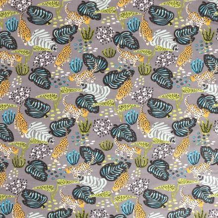 Tissu Jersey Modal imprimé Jungle  bleu, vert et jaune sur fond Gris - Par 10 cm