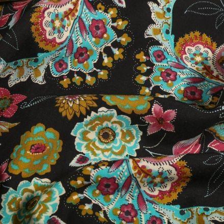 Tissu Viscose Fleuris sur fond Noir - Par 10 cm