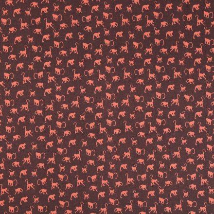 Tissu Satin imprimé Singes oranges sur fond Marron - Par 10 cm