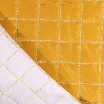 Tissu Doublure matelassée Carreaux Lurex argent sur fond Jaune moutarde - Par 10 cm