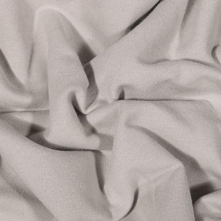 Tissu Jersey Coton envers molletonné uni Bio Gris - Par 10 cm