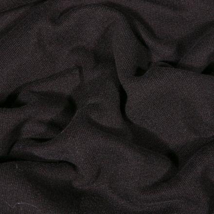 Tissu Jersey Coton envers molletonné uni Bio Noir - Par 10 cm