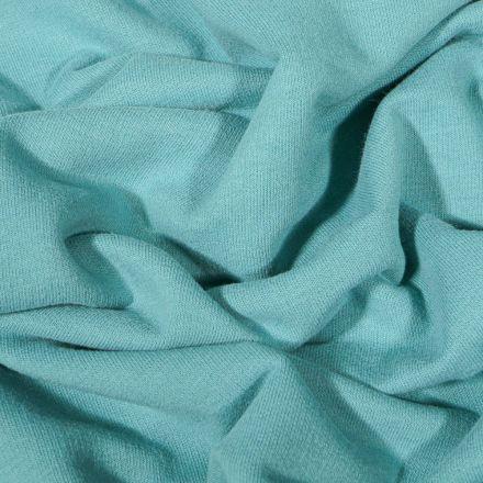 Tissu Jersey Coton envers molletonné uni Bio Bleu céladon - Par 10 cm