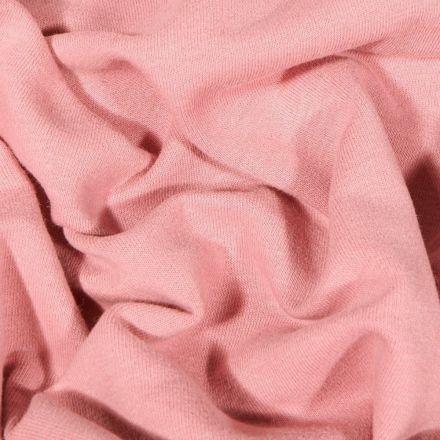Tissu Jersey Coton envers molletonné uni Bio Rose - Par 10 cm