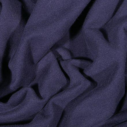 Tissu Jersey Coton envers molletonné uni Bio Bleu marine - Par 10 cm