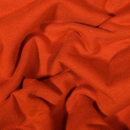 Tissu Jersey Coton envers molletonné uni Bio Rouille - Par 10 cm