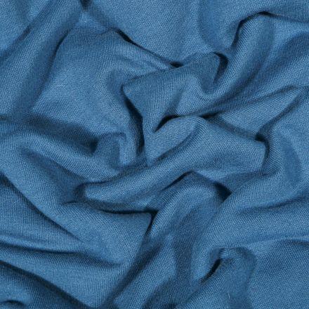 Tissu Jersey Coton envers molletonné uni Bio Bleu denim - Par 10 cm