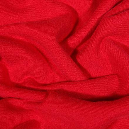 Tissu Jersey Coton envers molletonné uni Bio Rouge - Par 10 cm